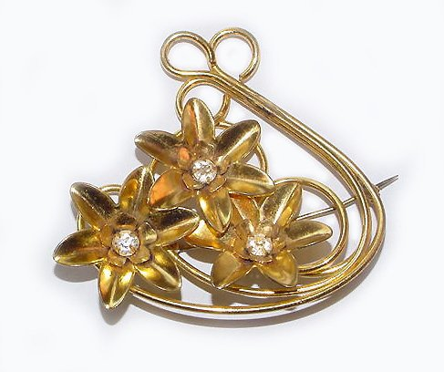 Bright Gold Plated 1940s Retro Brooch