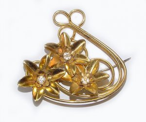 Bright Gold Plated 1940s Retro Brooch - Free USA Shipping