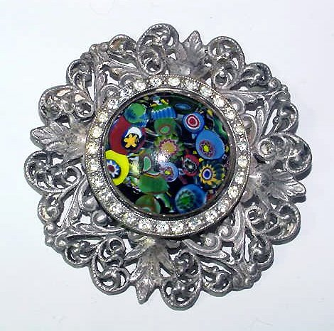 Dramatic Art Deco Murano Mosaic Glass and Rhinestones Brooch