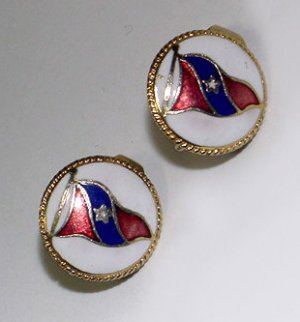 Vintage Boating Pennant Glass Enamel Clip Earrings - Free USA Shipping