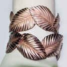 Pair of Signed Napier Copper Leaves Cuff Bracelets - Free USA Shipping