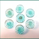 Set of Victorian Blue Glass Daisy Buttons - Free USA Shipping