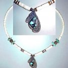 Moon, Pen Shell Heishi & Turquoise Navajo Necklace