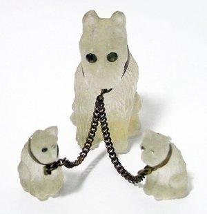 Antique Camphor Glass Scottie Dogs Set - Free USA Shipping