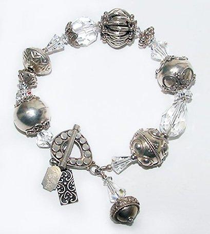 Signed Tres Jolie Bracelet - Bali Sterling and Swarovski Crystal Beads - Free USA Shipping