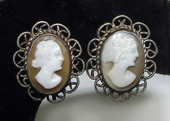 Antique Silver and Gold Cameo Filigree Earrings