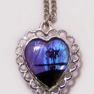 Vintage c1950 Double Sided Morpho Butterfly Wing Heart Pendant/ Necklace