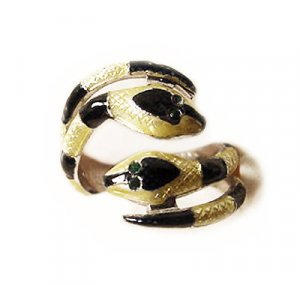 Vintage Enamel Sterling Serpent Ring Signed Espo - Free USA  Shipping