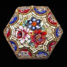 Antique Mosaic Hexagonal Floral Brooch - Free USA Shipping