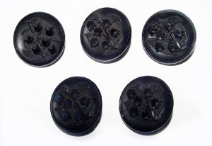 Antique Victorian Lily-of-the-Valley Glass Button Set - Free USA Shipping