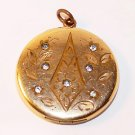 Antique Hand Engraved Gold Filled Locket with Rhinestones