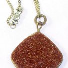 Antique Victorian Goldstone Fob on Chain Necklace - Free USA Shipping