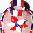 1960s Modernist Patriotic Red, White and Blue Plastic and Metal Parure - Free USA Shipping
