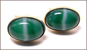 Green Striped Agate Gold Filled Vintage Cufflinks Signed Jaguar
