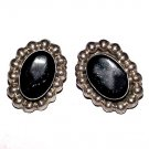 Vintage Mexican Sterling and Obsidian Clip Earrings