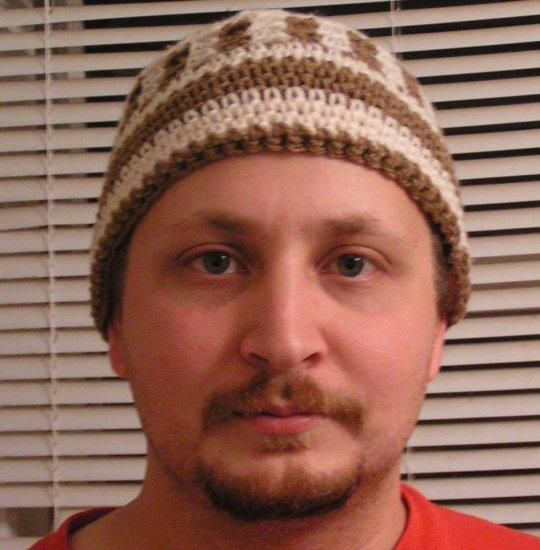 Brown / White Striped Beanie Hat