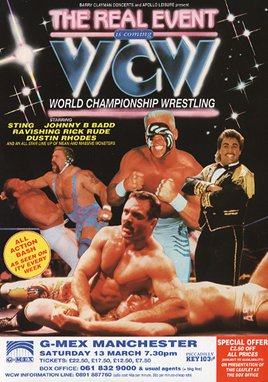 WCW Wrestling UK flyer Professional Wrestling Sting, Rick Steiner, Rick Rude, Johnny B. Badd