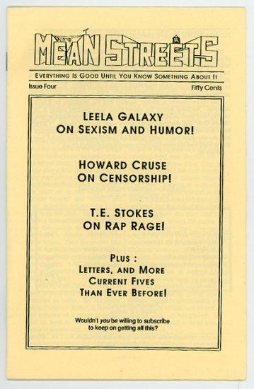 Mean Streets #4 Comic Book Fanzine, Howard Cruse, 1990