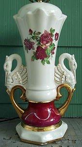 Antique Worrall Table Lamp Rose Swan Decor W Ceramic Body