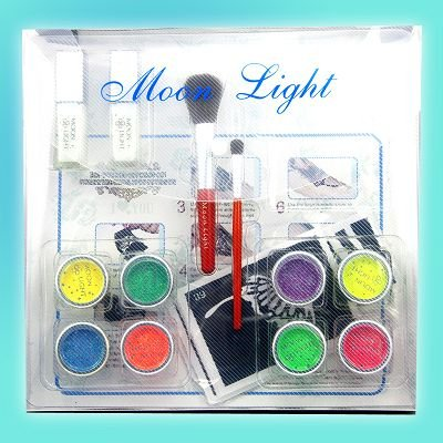 UV Glitter tattoo kit 8 UV powder/glue tube/brush/stencil