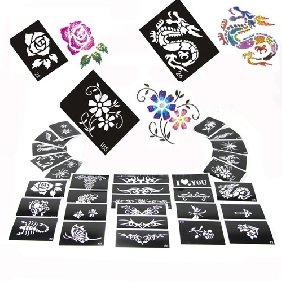 Stencils for Body Painting Glitter Tattoos, 50 sheets, Mixed Designs