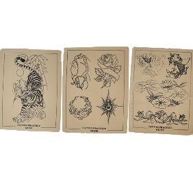 3 pcs of 15X20cm Tattoo Practice Skin for Needles with black picture