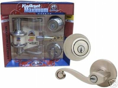 KWIKSET 990LL LIDO COMBO LOCKSET - Keyed Entry BONUS PACKAGE - Satin Nickel Left Hand