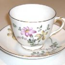 ROYAL VICTORIA CUP AND SAUCER - PINK & YELLOW FLOWERS