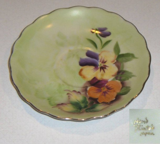 Vintage Hand Painted Pansies Saucer - Made in Japan 5 1/2""