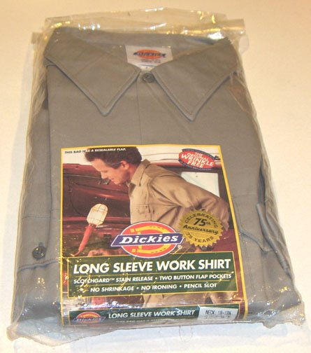 Dickies LONG SLEEVE GRAY WORK SHIRT Size XXL
