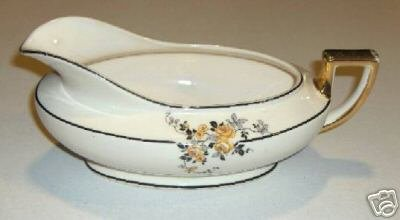 Homer Laughlin Kwaker Style Sauce Boat - Yellow Roses with Black
