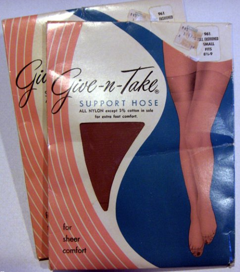 Vintage Give-n-Take Support Hose - 2 Pairs Small