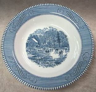 """Vintage Royal China CURRIER & IVES """"EARLY WINTER"""" RIMMED SOUP BOWL Set of 2"""