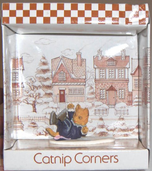 "1992 Catnip Corners #86092 ""Down Again"" Ice-Skating Cat Figure - Resin"