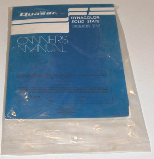 Quasar Dynacolor Solid State Color TV Owners Manual