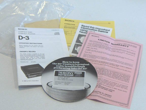 1986 Sony Compact Disc Player D-3 Operating Instructions
