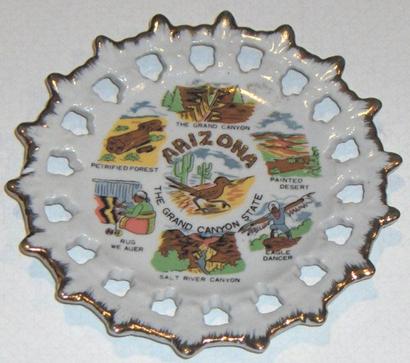 "Vintage Arizona State Souvenir Reticulated Plate - 5 1/2"" Korea"