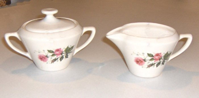 Vintage GOLDEN DAWN First Quality China Creamer & Sugar Bowl with Lid