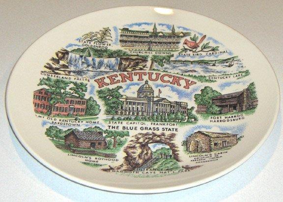 "Vintage Kentucky Souvenir State Plate - 10 3/8"""