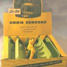 Vintage SERV-RITE Plastic CORN COB Holders and Corn Husk DISHES Mint in Box