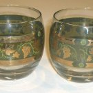 Vintage Old-Fashioned Rocks Glass - Gold Embossed Band with Grapes & Leaves Set of 2