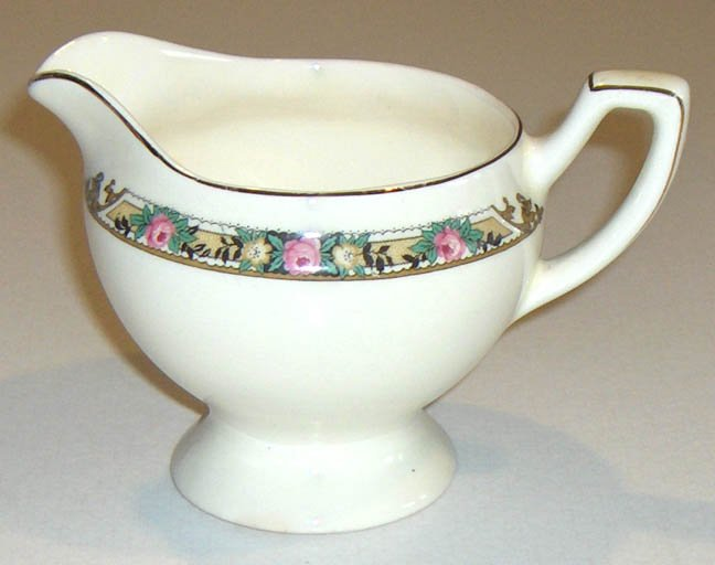 Vintage Creamer with Rose Border with gold and black