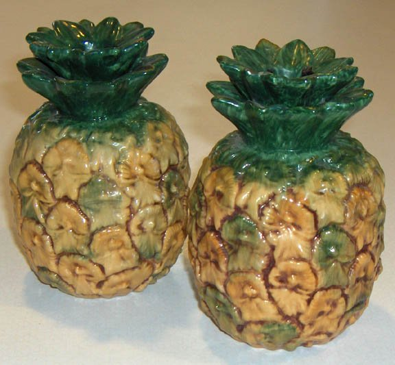 1984 Ron Gordon Designs Ceramic Pineapples Candlestick Holders - Set of 2
