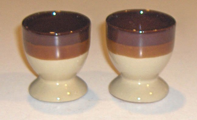 2 Stoneware Footed Egg Cups - Tan, Orchre, Chocolate Brown