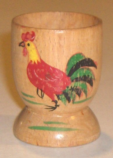 Vintage Wooden Rooster Egg Cup - Japan