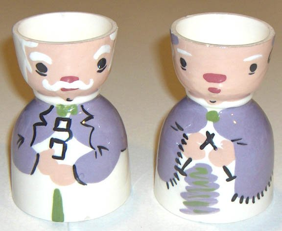 Vintage Grandpa and Knitting Grandma Ceramic Egg Cups - Set of 2