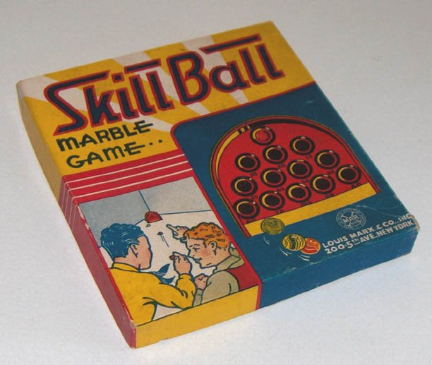 Vintage Louis Marx & Co. Skill Ball Marble Game in Original Box
