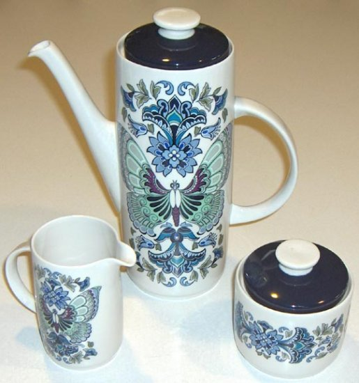 Royal Doulton China Atlantis Coffee Pot, Creamer and Sugar w/ lid