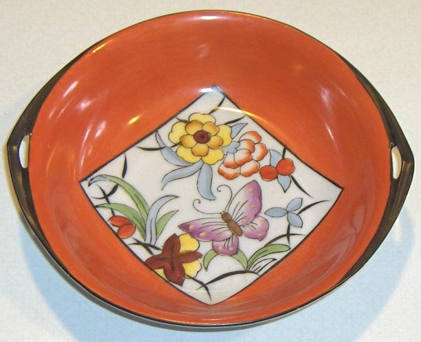 Vintage Noritake Hand Painted Handled Dish - Stylized Floral / Butterfly
