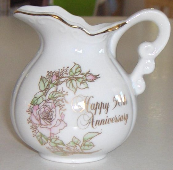 1983 Enesco Happy 50th Anniversary Creamer